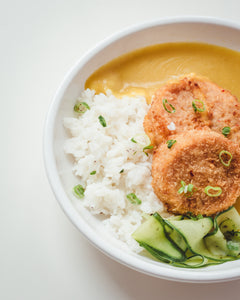 Katsu Squash with Rice & Pickled Cucumber