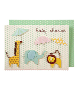 Baby - Animals with Umbrellas Baby Shower Card