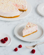 Load image into Gallery viewer, Raspberry & White Chocolate Cheesecake (12 - 14 portions)