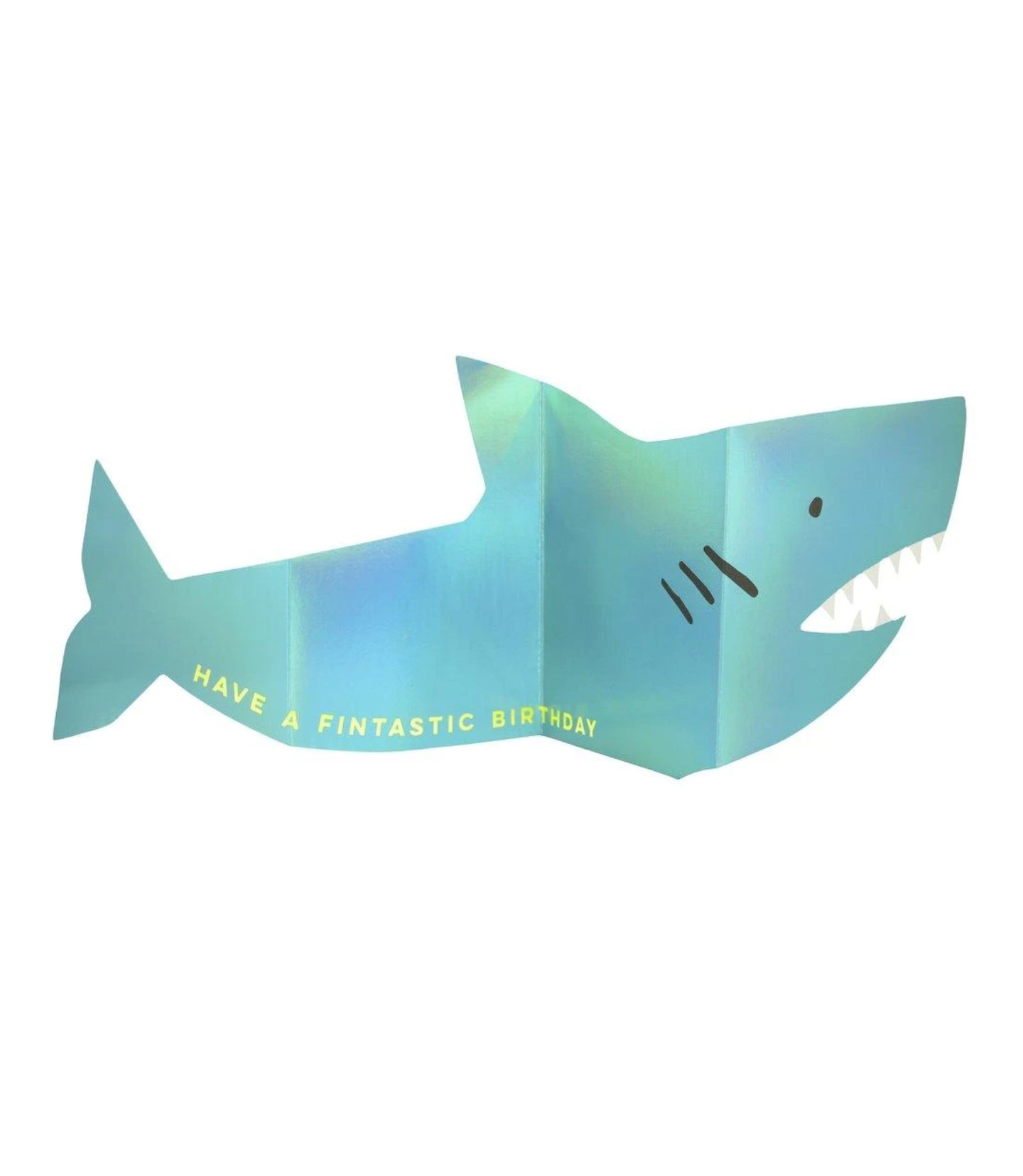 Birthday - Metallic Shark Concertina Card