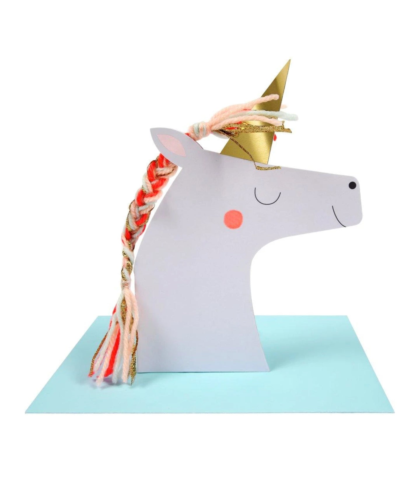Birthday - Unicorn with Colored Braid Card