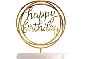Birthday - Gold Acrylic Happy Birthday cake topper