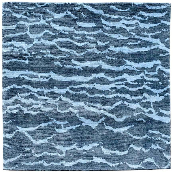 "stair landing rug blue water design ""Adriatic"" 32x32 inches"
