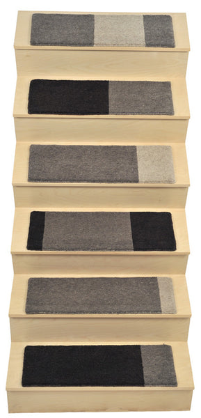 "Alto Steps stair tread rugs ""A-Frame"" un-dyed natural wool"