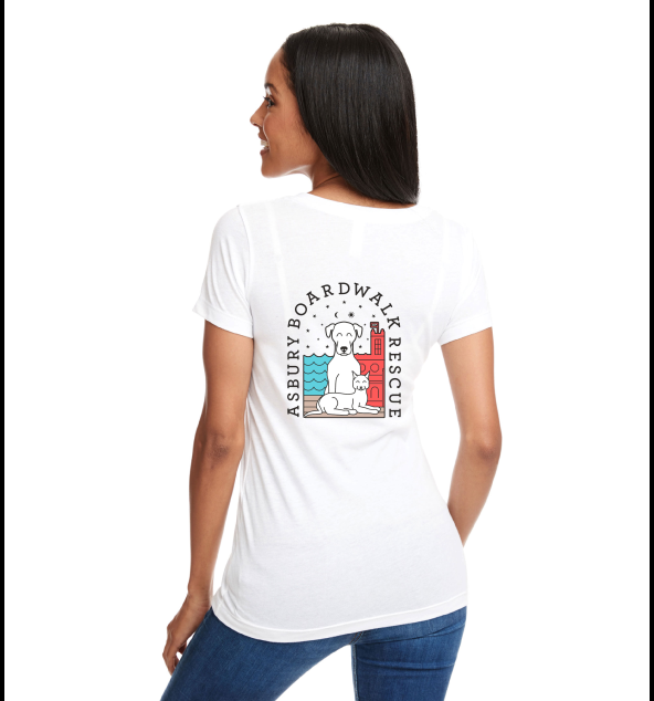 Asbury Boardwalk Rescue Ladies White V Neck