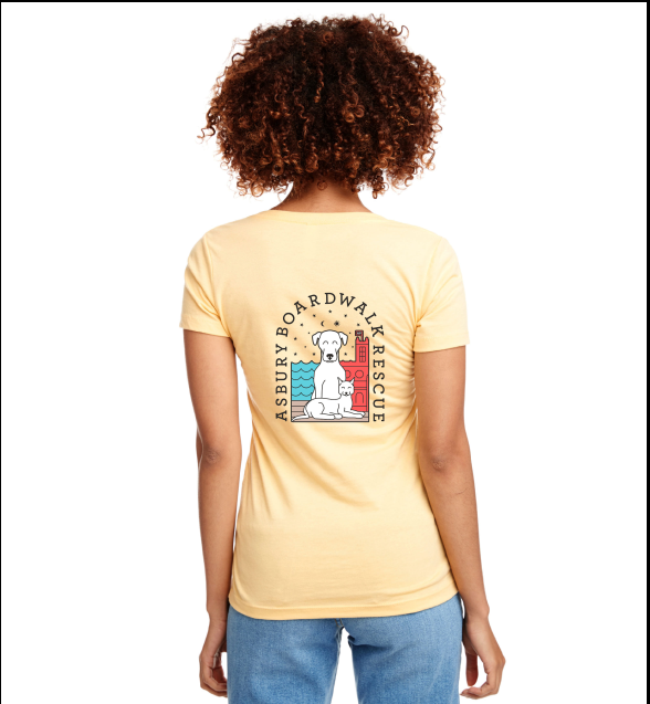 Asbury Boardwalk Rescue Ladies Yellow V Neck