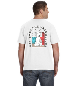 Asbury Boardwalk Rescue Men's White Tee Shirt