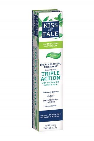 Triple Action Cool Mint Gel Fluoride Free - Kiss My Face