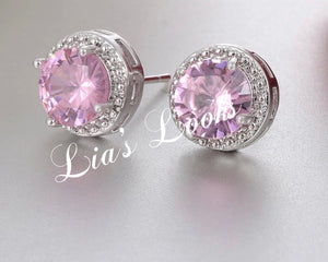 Bling Tennis Stud Earrings (Pink)