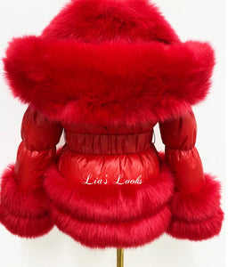 CHILDREN'S - Ruby Red Romani Coat (Faux Fur)