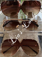 Load image into Gallery viewer, Brown V Studded Oversized Sunglasses