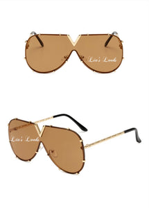 Brown V Studded Oversized Sunglasses