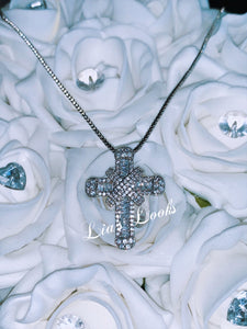 Chunky Silver Bling Small Cross Necklace (Box Chain)