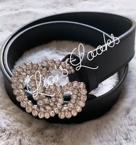 'G' Diamanté Rhinestone Buckle Belt