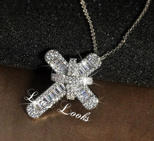 Chunky Silver Bling Small Cross Necklace (Link Chain)