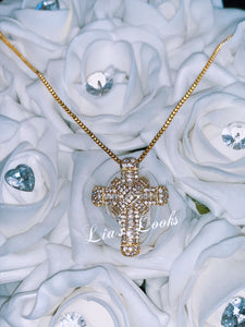Chunky Gold Bling Small Cross Necklace (Box Chain)