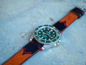 the.retro.Macan design watch strap - The pocket(牛皮+馬臀皮)