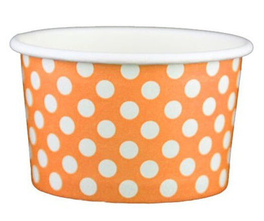 4 oz Orange Polka Dot Ice Cream Paper Cups - 1000ct