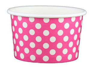 4 oz Pink Polka Dot Ice Cream Paper Cups - 1000ct