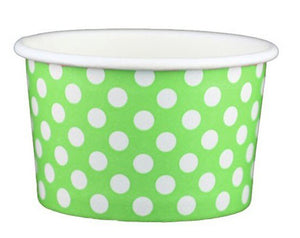 4 oz Green Polka Dot Ice Cream Paper Cups - 1000ct