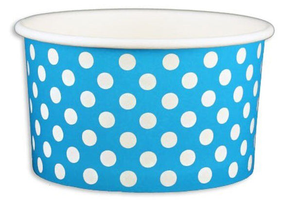 5 oz Blue Polka Dot Ice Cream Paper Cups - 1000ct