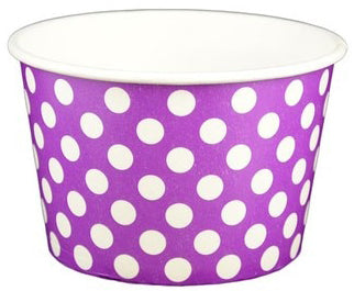 6 oz Purple Polka Dot Ice Cream Paper Cups - 1000ct