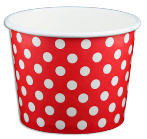 12 oz Red Polka Dot Ice Cream Paper Cups - 1000ct