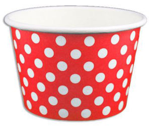 8 oz Red Polka Dot Ice Cream Paper Cups - 1000ct