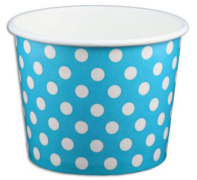 12 oz Blue Polka Dot Ice Cream Paper Cups - 1000ct