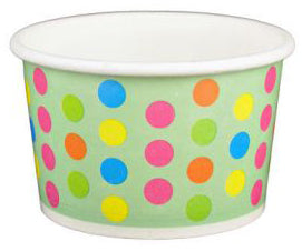 4 oz Aqua Multicolor Polka Dot Ice Cream Paper Cups - 1000ct
