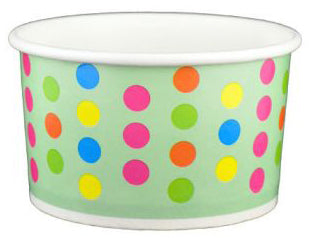 5 oz Aqua Multicolor Polka Dot Ice Cream Paper Cups - 1000ct