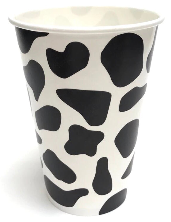 12 oz Cow Print Milkshake Drink Cups - 1000ct