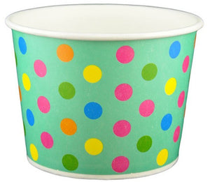 12 oz Aqua Multicolor Polka Dot Ice Cream Paper Cups - 1000ct