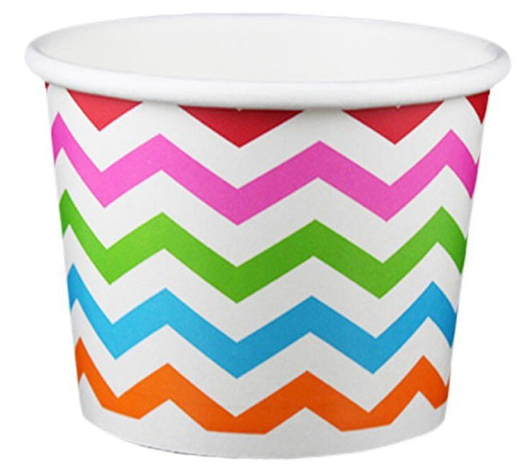 16 oz ZigZag White Multicolor Ice Cream Paper Cups - 1000ct