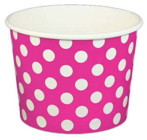 16 oz Pink Polka Dot Ice Cream Paper Cups - 1000ct