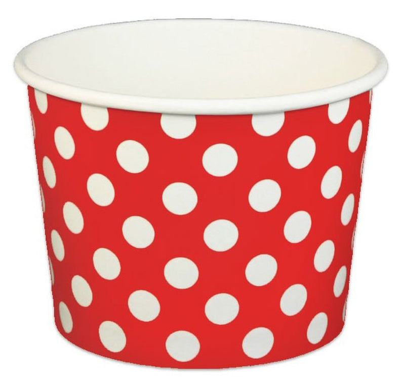 16 oz Red Polka Dot Ice Cream Paper Cups - 1000ct