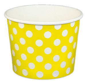 16 oz Yellow Polka Dot Ice Cream Paper Cups - 1000ct