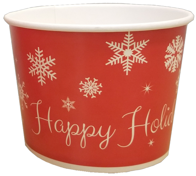 16 oz Christmas Holiday Print Ice Cream Paper Cups - 1000ct