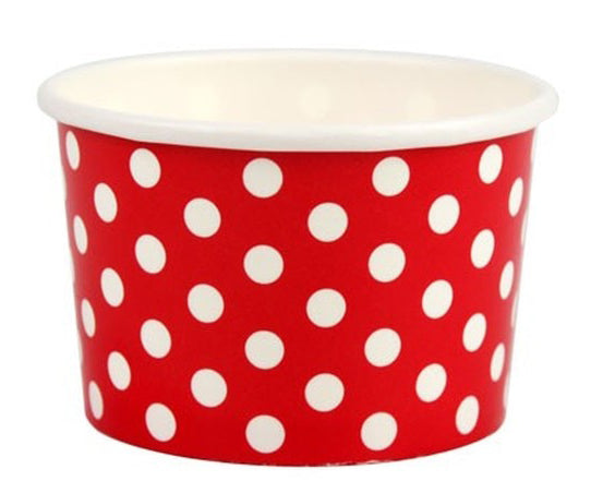 4 oz Red Polka Dot Ice Cream Paper Cups - 1000ct