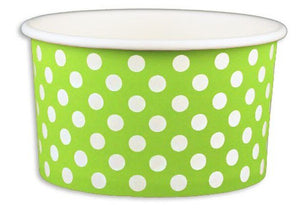 5 oz Green Polka Dot Ice Cream Paper Cups - 1000ct