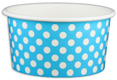 6 oz Blue Polka Dot Ice Cream Paper Cups - 1000ct