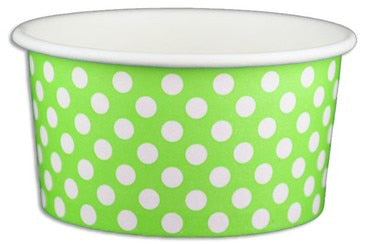 6 oz Green Polka Dot Ice Cream Paper Cups - 1000ct