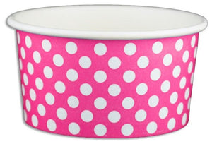 6 oz Pink Polka Dot Ice Cream Paper Cups - 1000ct