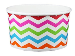 5 oz ZigZag White Multicolor Ice Cream Paper Cups - 1000ct