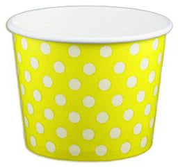 12 oz Yellow Polka Dot Ice Cream Paper Cups - 1000ct