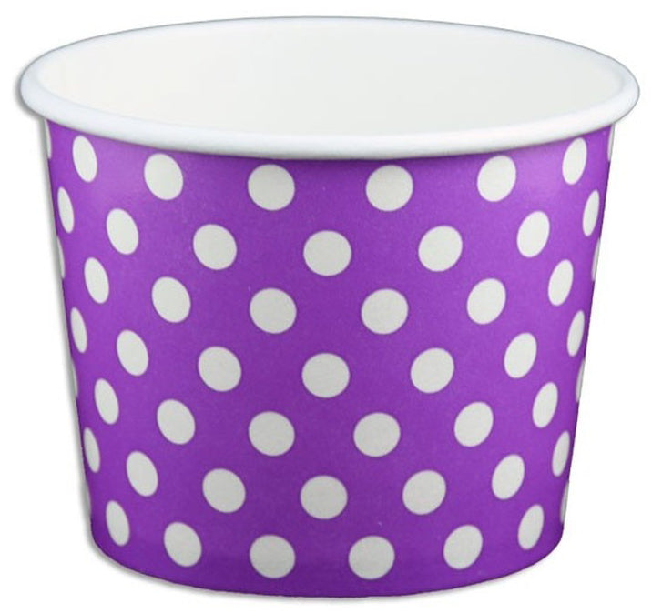 12 oz Purple Polka Dot Ice Cream Paper Cups - 1000ct
