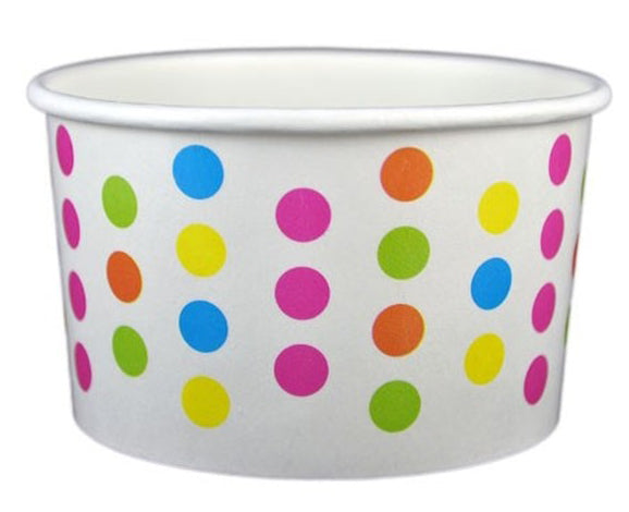 4 oz Multicolor Polka Dot Ice Cream Paper Cups - 1000ct