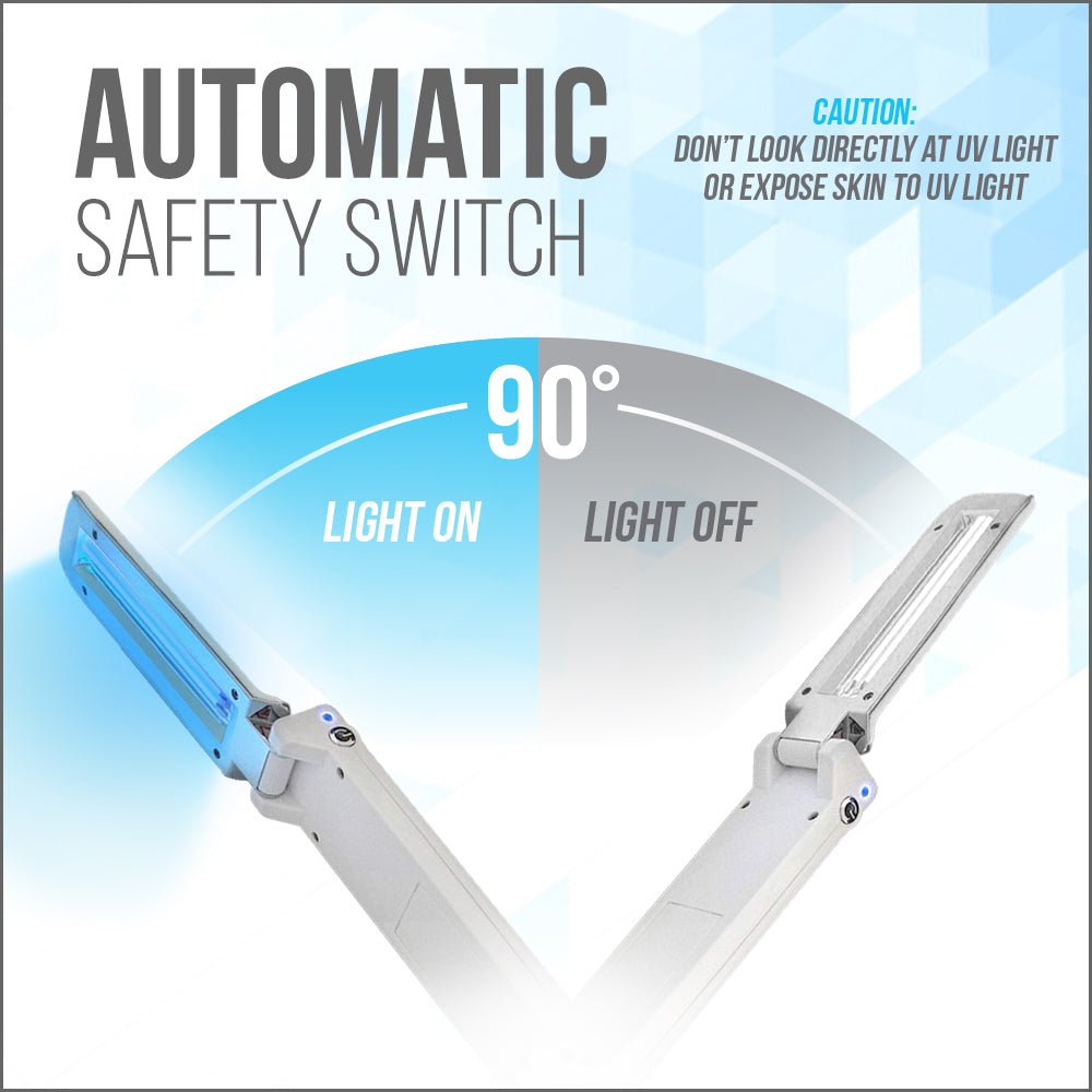 UV Wonder Wand has an automatic safety switch that will only allow the UV Light to come on when it is pointing dowen towards the surface.