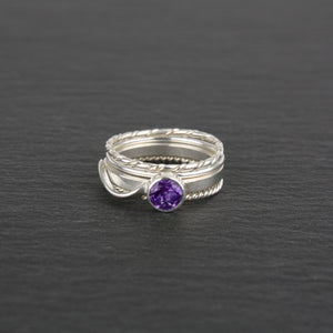 Stacking Rings with Amethyst - Set of 4