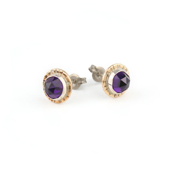 Compass Stud Earrings with Rose-cut Amethyst